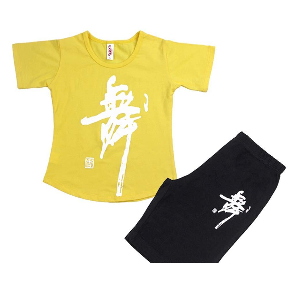 G Jian E& Vêtements de Danse pour Enfants col Rond Costume Filles Coton Exercice vêtements à Manches Longues été Pantalon Latin Complet des Costumes pour Hommes 150-160cm