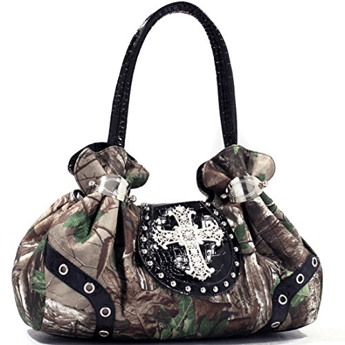 - Dasein? Studded Satchel Bag in Realtree? XG Camo with Rhinestone Cross-Faux Croc Black Trim