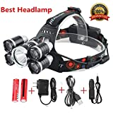 Ultra Bright 8000 Lumens Led Headlamp Flashlight,Waterproof hard hat Light,Night Fishing Lights Torch-5 LED 4 Modes-Rechargeable Batteries for Hunting /Camping / Travel /Car repair(Silver)