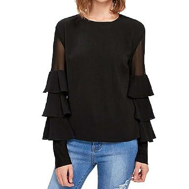 9b6877fcfa3 Caddy Wolfclaw Women Elegant Black Ruffle Long Sleeve Women Shirts Mesh  Insert Tiered Bell Sleeve Office