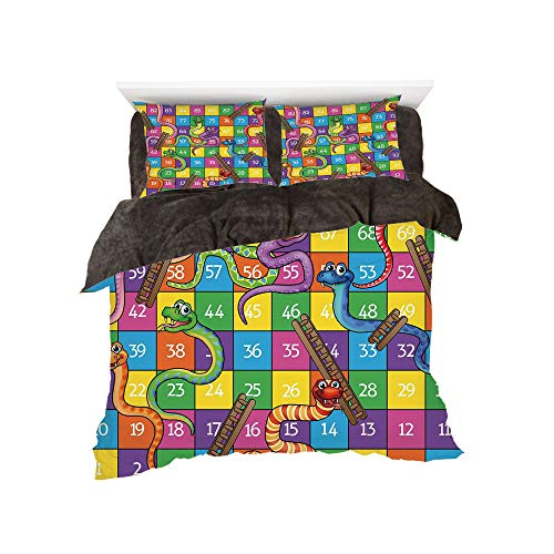 Union Square Comforter (All Season Flannel Bedding Duvet Covers Sets for Girl Boy Kids 4-Piece Full for bed width 4ft Pattern by,Board Game,Cute Snakes Smiling Faces Numbers in Squares Ladders Childrens Kids Play Print,Multi)