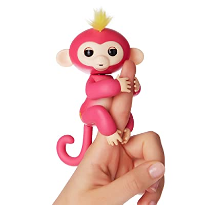 WowWee Fingerlings - Interactive Baby Monkey - Bella (Pink with Yellow Hair) By WowWee: Toys & Games