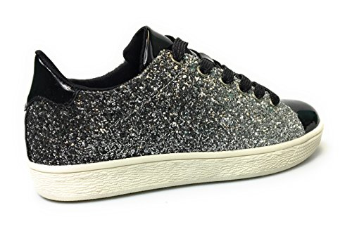 Voor Altijd Damesmode Glitter Fashion Sneakers (11, Black Glitter-1)