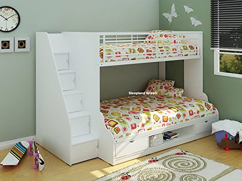 Trio - 3ft & 4ft Small double Bunk Bed (Full White)