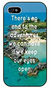 There is no end to adventures we can have if we keep our eyes open - Blue ocean and beach - Adventurer iPhone 5C plastic case BLACK - (Row 11-C)
