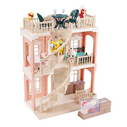 FULIM Forest-Family DIY Dollhouse Kit Set - Portable Doll House Playset Toddler Toys for 3 4 5 6 Year Old Girls Kids with Furniture Accessories and Two Critters, Halloween Christmas Birthday Gifts