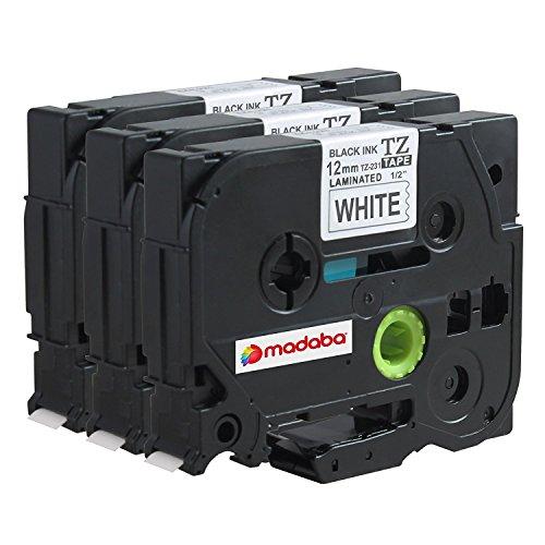 Madabcom 3x Pack compatible for Brother TZE 231 tz 231 tz231 tze231 12mm Laminated tze-231 12mm tz tape 12mm 0.47 Label Black on White 12mm wide x 8 m Length 1/2 inch tze-231pk p-touch label (1800 Labels)