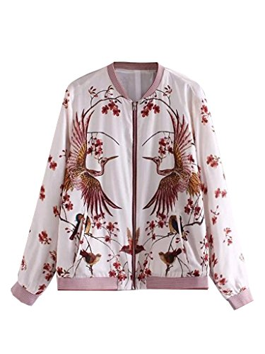 Embroidered Womens Jacket (PERSUN Women's White Birds And Floral Print Bomber Jacket,)