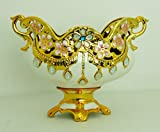 Gold & White Pedestal Bowl with Gold Handle/Home Decorative