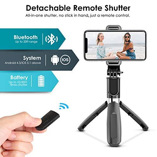 Elegiant Palo Selfie Tripode Bluetooth 4 En 1 Selfie Stick Movil Con Control Remoto Deportivo Extensible Para Viaje Monopie Con Obturador Rotacion 360 Para Gopro Mini Camara Celular Android Ios