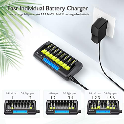RayHom 8 Bay AA AAA Battery Charger, Double Charging Speed with LCD Display Independent Slot for Ni-MH AA AAA Rechargeable Batteries