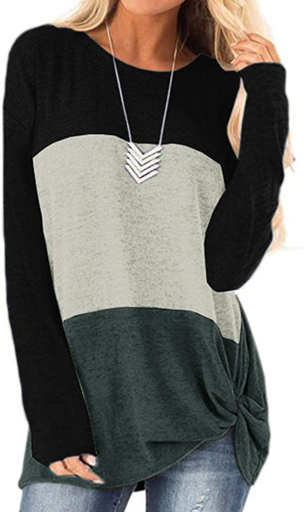 Womens Long Sleeve Shirts Color Block Tops Twist Front Striped O Neck Blouse Cute Fall Tunic Tops