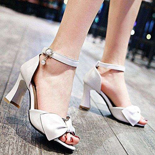 TAOFFEN Women Fashion Ankle Strap Buckle Pearl Bowtie Summer Peep Toe Block Heel Sandals White fNNZsfmn95