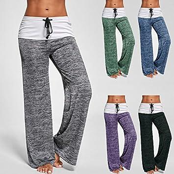 Timagebreze Outdoor Damen Plus Size Sporthosen Beilaeufige lose Kordelzug weites Bein weibliche gerade Yoga Hose Blau L