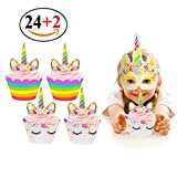Kyпить Unicorn Cupcake Toppers and Wrappers Double Sided Kids Party Cake Decorations Set of 24 на Amazon.com