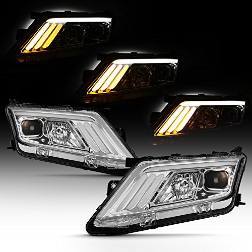 ACANII - For 2010-2012 Ford Fusion LED [SEQUENTIAL Signal] DRL Projector Headlights Headlamps Chrome Left + Right