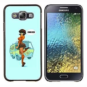 EJOOY---Cubierta de la caja de protección para la piel dura ** Samsung Galaxy E5 E500 ** --sexy pin up cartel mujer chica pelirroja