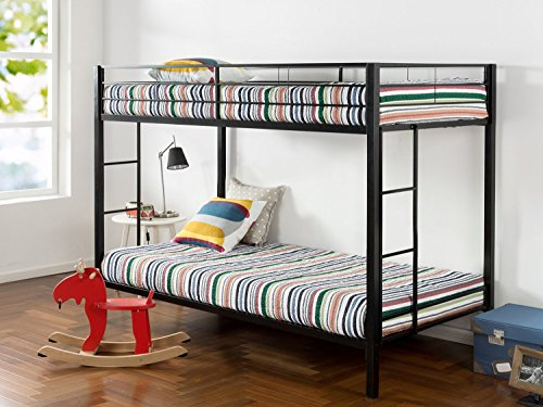 - Zinus Aileene Easy Assembly Quick Lock Twin over Twin Classic Metal Bunk Bed with Dual Ladders / Quick to Assemble in Under an Hour