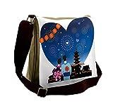 Lunarable City Love Messenger Bag, Japanese Couple Festival, Unisex Cross-body
