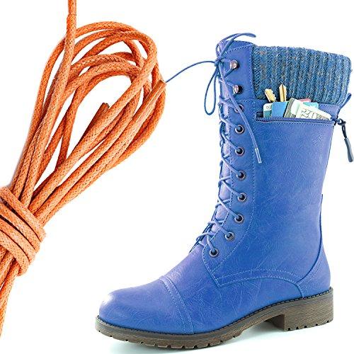 Dailyshoes Womens Style De Combat Lacets Cheville Bottine Bout Rond Knit Militaire Carte De Crédit Couteau Argent Portefeuilles De Poche, Orange Bleu Pu