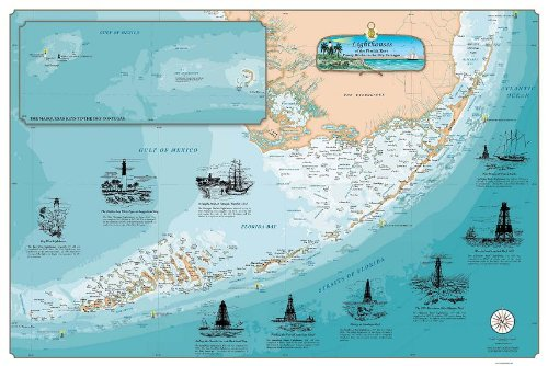 Florida Keys Lighthouses Chart: Fowey Rocks to the Dry Tortugas (Paper)