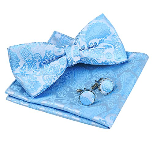 Men's Paisley Bow Tie& Hanky& Cufflinks Set (Light Blue) ()