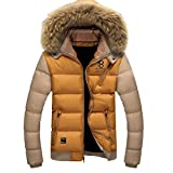 Cozy Age Mens Warm Winter Jacket with Faux Fur Trimed Hood,Chinese L,Yellow