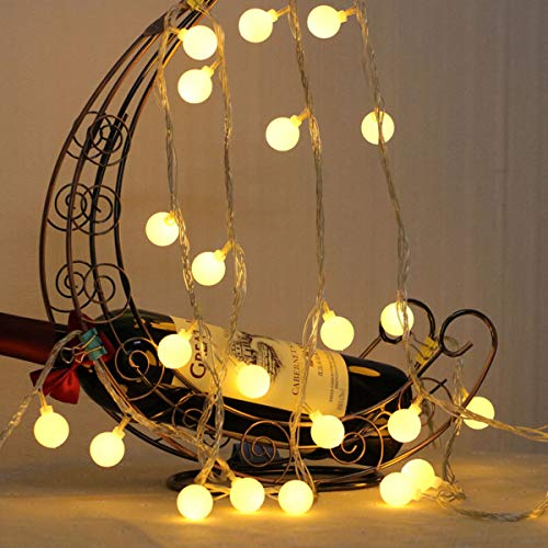 HEDORANCE LED Globe String Lights, Ball Fairy Lights Battery Operated 20 LED 10ft Waterproof Twinkle Starry Lights for Home Room Party Christmas Decor(Warm White)