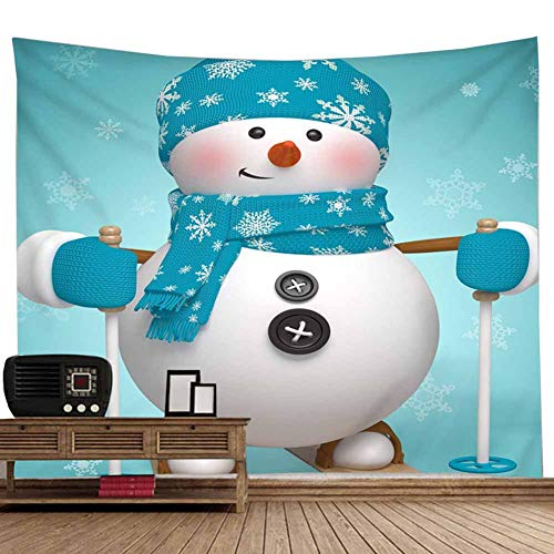 POPPAP Snowman Skiiing Wall Tapestry Winter Christmas Scene Setter Fat White Snow Doll Wears Blue Color White Snow Flakes Knitting Scarf Hat Living Room Office Dorm Christmas Wall Decoration(79
