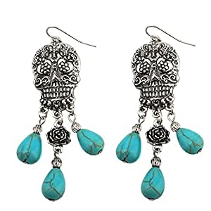 Turquoise Stone Dangling Sugar Skull Fish Hook Earrings (Large/Antique Silver)