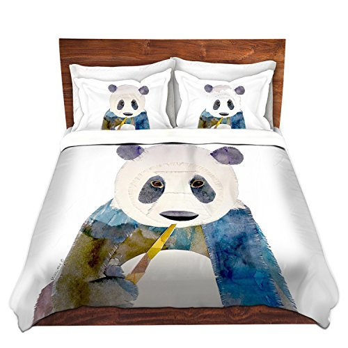 Duvet Cover Premium Woven Twin, Queen, King from DiaNoche Designs by Marley Ungaro Unique, Cool, Fun, Funky, Artistic, Designer, Stylish Home Decor and Bedroom Ideas - Panda