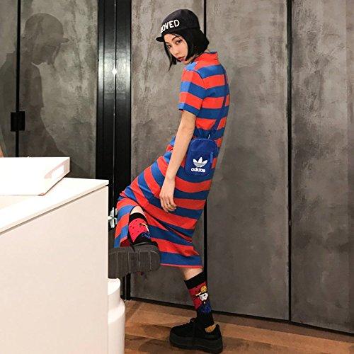 MiGMV?Robe Robes Printemps 2018 Nouvelle Robe,  Rayures Femme Tube Droit, Longueur Genou Long Manches Courtes T-Shirt Jupe Jupe,M,Rayures Bleu et Rouge