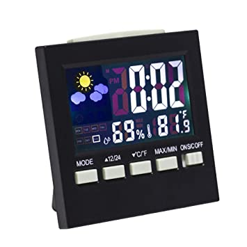 Lanker Reloj De Escritorio Digital - con Pantalla LCD, Luz De Fondo, Hora/