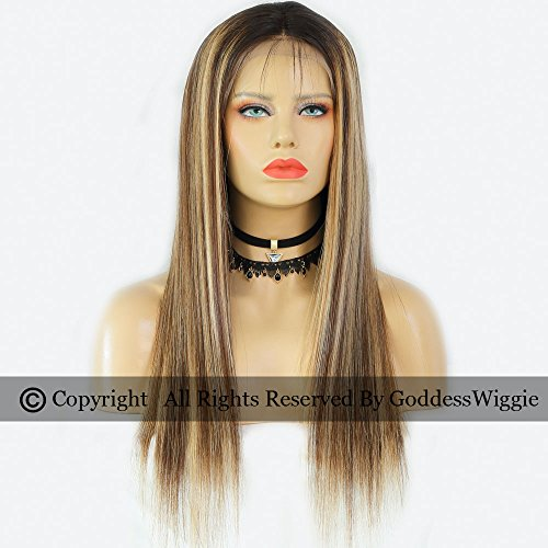 Ombre hightlight balyage colour Human Remy Hair Lace Front Super Straight wigs (20inch 150%) by Goddess