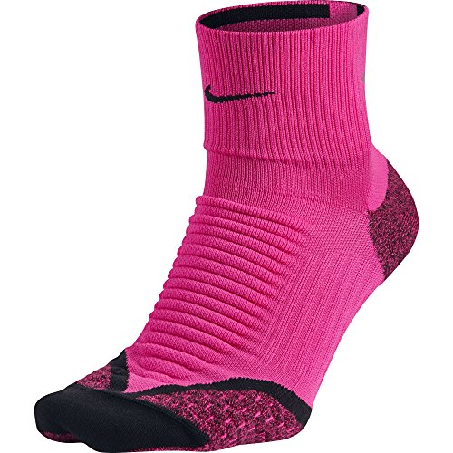 Nike Elite Running Cushion Quarter Socks (4-5.5, Pink Foil/Black)