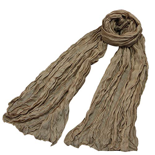 Fashionhe Lightweight Scarf Women Balinese Yarn Retro Scarves Female Multipurpose Shawl Scarf(Khaki,H) (Hat Balinese)