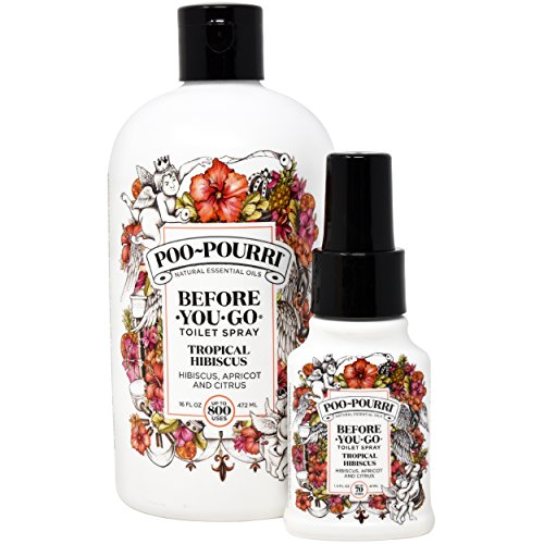 Poo-Pourri Tropical Hibiscus 16-Ounce Refill Bottle and 1.4-Ounce Tropical (Happy Summer Perfume)