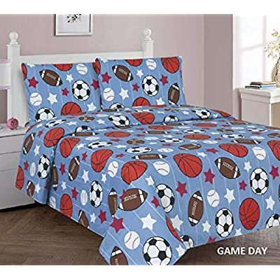 Sapphire Home 3 Piece Kids Boys Twin Sheet Set w/Fitted, Flat & 1 Pillow Case, Fun Print, Stars Sports Soccer Baseball Football Blue, Blue Color, Gameday Twin Sheet: Home & Kitchen