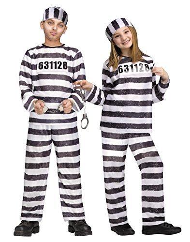 Fun World Unisex Convict Costume, Multicolor, Medium 8-10]()