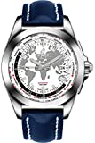 Breitling Galactic Unitime Steel w/Blue Leather Strap Men's Watch WB3510U0/A777-112X