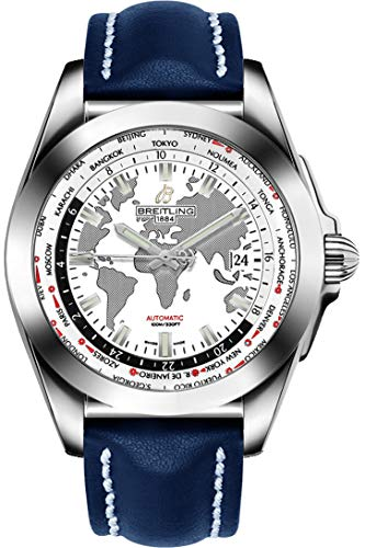 Breitling Galactic Unitime Steel w/Blue Leather Strap Men's Watch WB3510U0/A777-112X