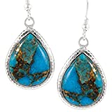 Turquoise Earrings 925 Sterling Silver Copper-Infused Matrix Turquoise (Select Style) (Teardrops)