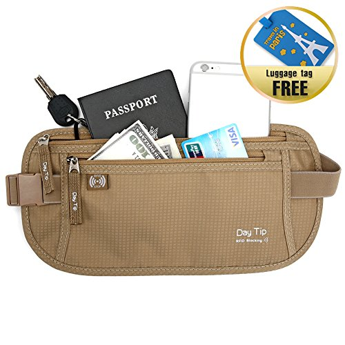 Undercover Nylon Belt - Money Belt - Passport Holder Secure Hidden Travel Wallet with RFID Blocking, Undercover Fanny Pack (Beige)