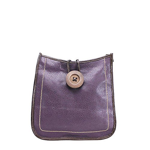 Haute for Diva Ladies Button Detail Crossbody Bag Green Purple
