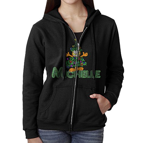 Womens Garfield Christmas Tree Cotton Black Full Zip Hoodie With Pocket