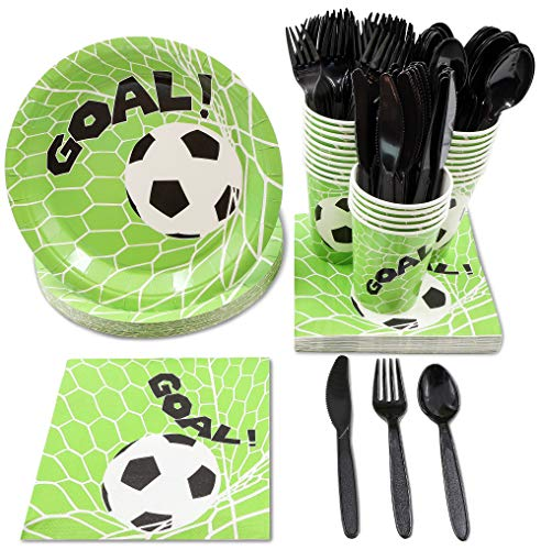Juvale Soccer Party Supplies - Serves 24 - Includes Plates, Knives, Spoons, Forks, Cups and Napkins. Perfect Soccer Birthday Party Pack for Kids Soccer Themed Parties. -