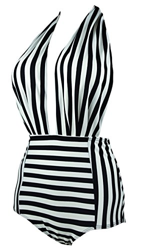 Cocoship-Retro-One-Piece-Backless-Bather-Swimsuit-High-Waisted-Pin-Up-SwimwearFBA