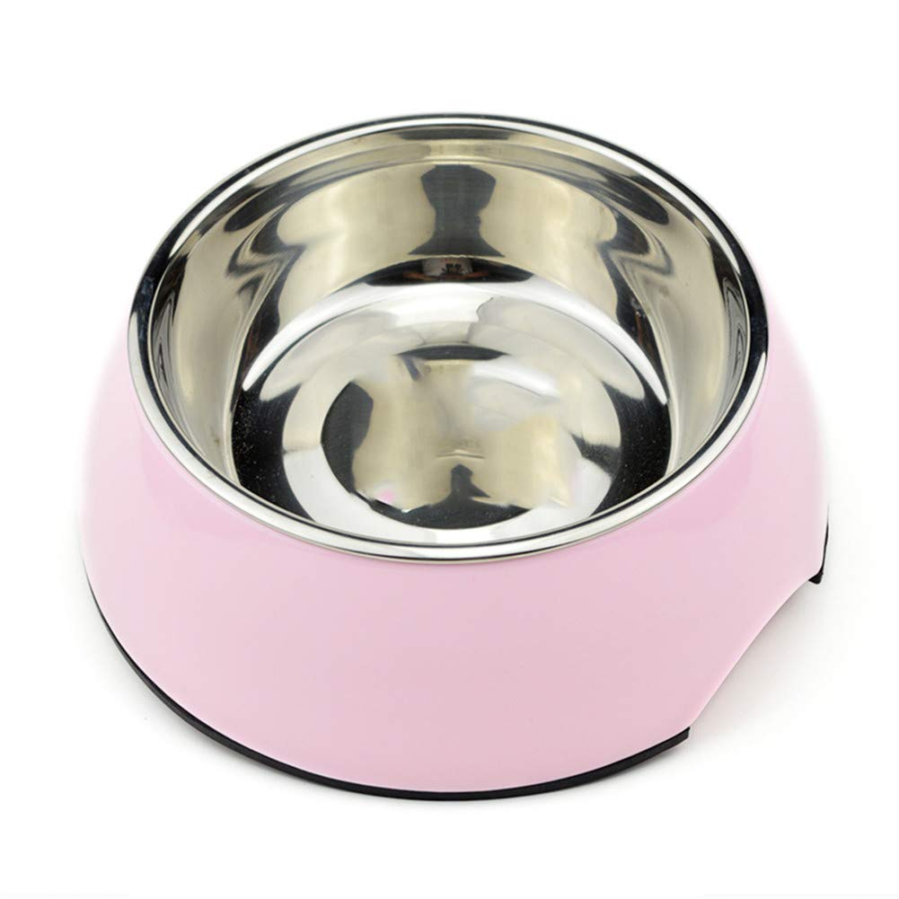 FOREVER-YOU Dog Bowl Single Bowl Stainless Steel Food Bowl Rice Bowls Resin pet Bowl cat Bowl cat Food Bowl Pink
