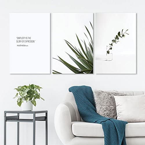 3 Panel Minimalism Style Plants on White Background with The Simplicity Quotes x 3 Panels