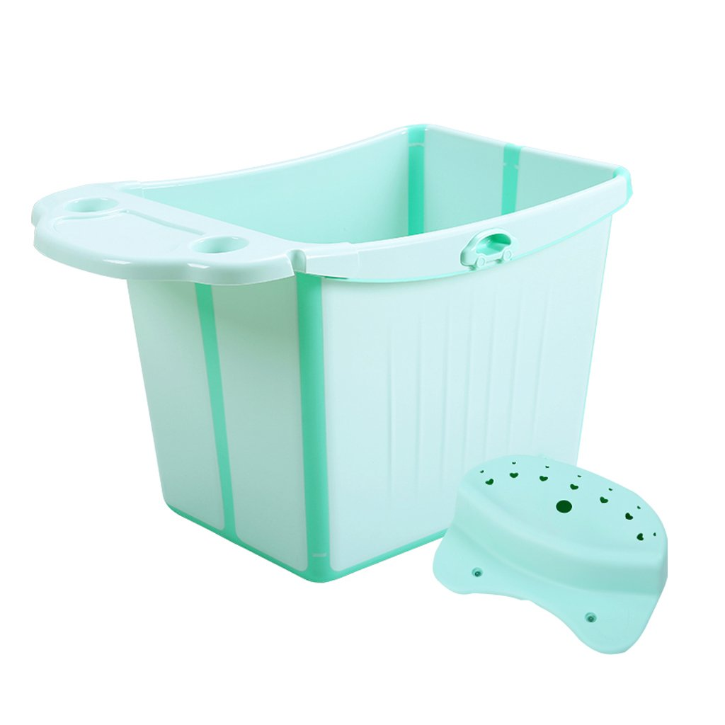 GAOYANG Foldable Baby Bath Extra Large Child Bath Bucket Bathtub for Children to Sit Baby Bath Bucket Bathtub (Color : Green)